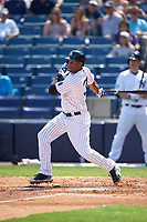 New York Yankees center fielder Aaron Hicks (31) at bat during a Spring Training game against the Detroit Tigers on March 2, 2016 at George M. Steinbrenner Field in Tampa, Florida.  New York defeated Detroit 10-9.  (Mike Janes/Four Seam Images)