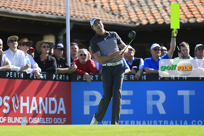 Brett Rumford (AUS) on the 1st tee during Round 1 of the ISPS HANDA Perth International at the Lake Karrinyup Country Club on Thursday 23rd October 2014.<br /> Picture:  Thos Caffrey / www.golffile.ie