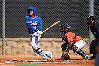 GCL Mets left fielder Wagner Lagrange (6) at bat in front of catcher Randy Vasquez (61) and umpire Josh Gilreath during the first game of a doubleheader against the GCL Astros on August 5, 2016 at Osceola County Stadium Complex in Kissimmee, Florida.  GCL Astros defeated the GCL Mets 4-1 in the continuation of a game started on July 21st and postponed due to inclement weather.  (Mike Janes/Four Seam Images)