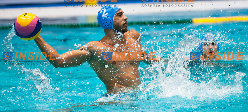 Eindhoven , Netherlands (Nederland ) 16 - 29 January 2012.LEN European  Water Polo Championships 2012.Day 06 - Men.Macedonia  (White) - Italia  (Blue)..ITA.2 PEREZ Amaurys..Photo Insidefoto / Giorgio Scala / Deepbluemedia.eu