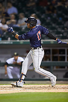 Victor Reyes (17) of the Toledo Mud Hens follows through on his swing against the Charlotte Knights at BB&T BallPark on April 24, 2019 in Charlotte, North Carolina. The Knights defeated the Mud Hens 9-6. (Brian Westerholt/Four Seam Images)