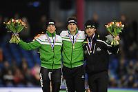 SCHAATSEN: HEERENVEEN: IJsstadion Thialf, 29-12-2012, Seizoen 2012-2013, KPN NK allround, podium 5000m Heren, Jan Blokhuijsen, Sven Kramer, Bob de Jong, ©foto Martin de Jong