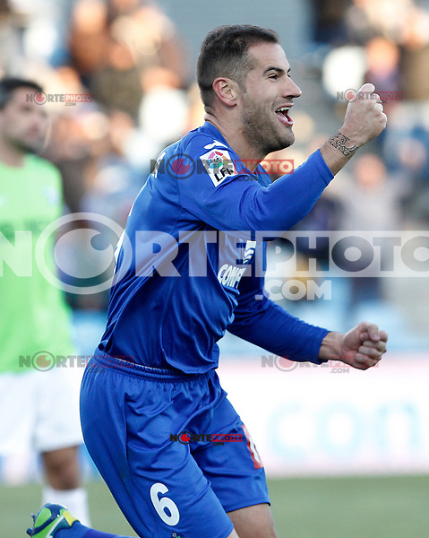 Getafe's Alberto Lopo celebrates goal during La Liga match.December 01,2012. (ALTERPHOTOS/Acero) ©/NortePhoto