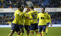 Blackburn Rovers' Adam Armstrong is congratulated after scoring his side's second goal<br /> <br /> Photographer Rob Newell/CameraSport<br /> <br /> The EFL Sky Bet Championship - Millwall v Blackburn Rovers - Saturday 12th January 2019 - The Den - London<br /> <br /> World Copyright &copy; 2019 CameraSport. All rights reserved. 43 Linden Ave. Countesthorpe. Leicester. England. LE8 5PG - Tel: +44 (0) 116 277 4147 - admin@camerasport.com - www.camerasport.com