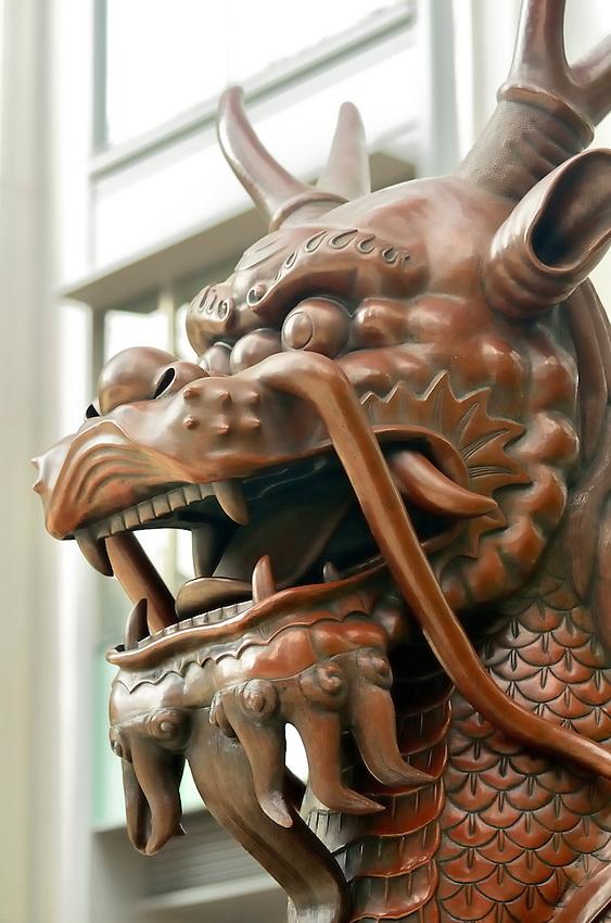 Bronze Dragon on guard duty in Wan Chai district of Hong Kong.