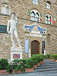 Europe, Italy, Tuscany, Florence, Palazzo Vecchio Entrance with Copy of Michelangelo's Sratue of David