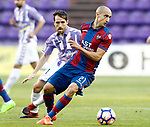 Real Valladolid's Michel Herrero (l) and Levante UD's Natxo Insa during La Liga Second Division match. March 11,2017. (ALTERPHOTOS/Acero)