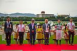 TAKARAZUKA,JAPAN-JUN 23: The winning ceremony after Lys Gracieux,ridden by Damian Lane,wins the Takarazuka Kinen at Hanshin Racecourse on June 23,2019 in Takarazuka,Hyogo,Japan. Kaz Ishida/Eclipse Sportswire/CSM