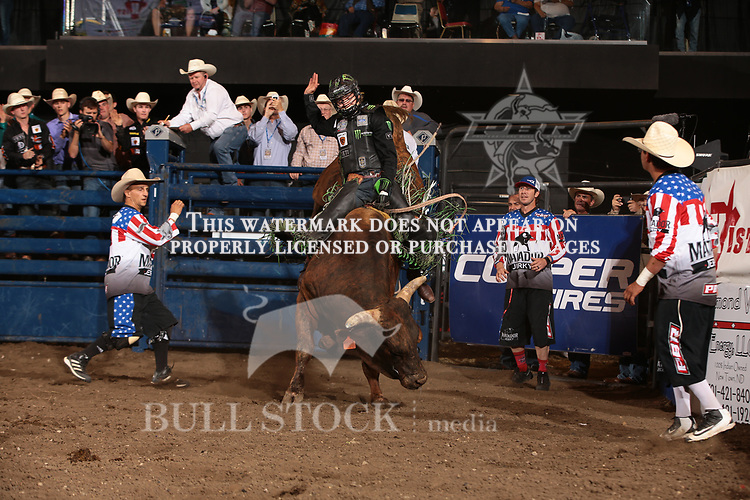 Derek Kolbaba rides Dakota Rodeo/Chad Berger/Clay Struve's American Gangster for 88 during the first round of the Bismarck Real Time Pain Relief Velocity tour PBR. Photo by Andy Watson