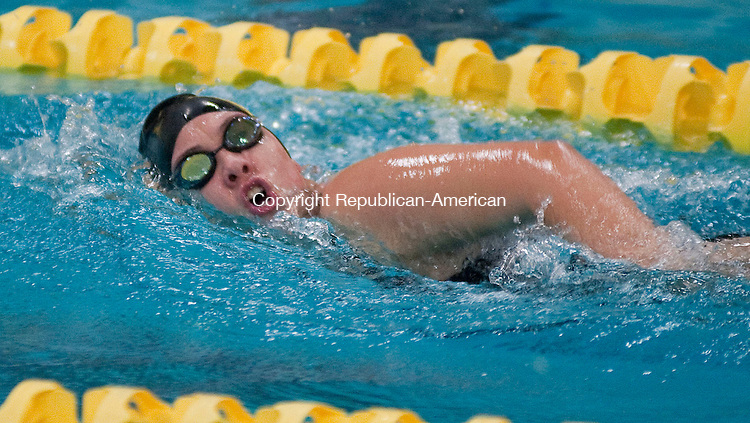 WATERBURY, CT -10 OCTOBER 2012--101012JS010 Torrington's Melissa Katz competes in the 200 freestyle during their meet against Holy Cross Wednesday at Kennedy High School in Waterbury.   .Jim Shannon Republican-American