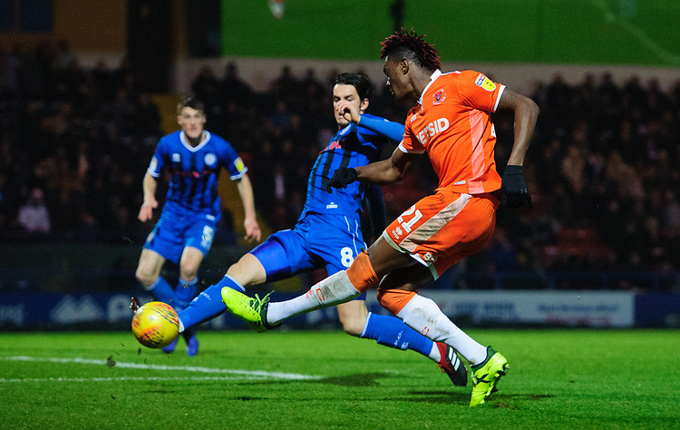 Blackpool's Armand Gnanduillet under pressure from Rochdale's Jordan Williams<br /> <br /> Photographer Chris Vaughan/CameraSport<br /> <br /> The EFL Sky Bet League One - Rochdale v Blackpool - Wednesday 26th December 2018 - Spotland Stadium - Rochdale<br /> <br /> World Copyright © 2018 CameraSport. All rights reserved. 43 Linden Ave. Countesthorpe. Leicester. England. LE8 5PG - Tel: +44 (0) 116 277 4147 - admin@camerasport.com - www.camerasport.com