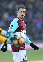 West Ham United's Javier Hernandez<br /> <br /> Photographer Rob Newell/CameraSport<br /> <br /> The Emirates FA Cup Third Round - Shrewsbury Town v West Ham United - Sunday 7th January 2018 - New Meadow - Shrewsbury<br />  <br /> World Copyright &copy; 2018 CameraSport. All rights reserved. 43 Linden Ave. Countesthorpe. Leicester. England. LE8 5PG - Tel: +44 (0) 116 277 4147 - admin@camerasport.com - www.camerasport.com
