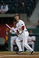 Blake Lacey (26) of the Southern California Trojans bats during a game against the Washington State Cougars at Dedeaux Field on March 13, 2015 in Los Angeles, California. Southern California defeated Washington State, 10-3. (Larry Goren/Four Seam Images)
