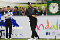 Lee Slattery (ENG) tees off the 1st tee during Saturday's rain delayed Round 2 of the Andalucia Valderrama Masters 2018 hosted by the Sergio Foundation, held at Real Golf de Valderrama, Sotogrande, San Roque, Spain. 20th October 2018.<br /> Picture: Eoin Clarke | Golffile<br /> <br /> <br /> All photos usage must carry mandatory copyright credit (&copy; Golffile | Eoin Clarke)