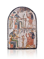 "Ancient Egyptian Ra stele , limestone, New Kingdom, 19th Dynasty, (1279-1190 BC), Deir el-Medina,  Egyptian Museum, Turin. white background, <br /> <br /> Akh iqer en Ra "" the excellent spirit of Ra' stele. One of three stele forund in different rooms of houses in Deir el-Medina where they stood in niches"
