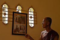 Monk explaining at a Monastery in Vientiane