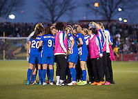 Boyds, MD - April 16, 2016: Boston Breakers huddle after the match. The Washington Spirit defeated the Boston Breakers 1-0 during their National Women's Soccer League (NWSL) match at the Maryland SoccerPlex.