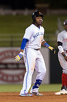 AFL West third baseman Vladimir Guerrero Jr. (27), of the Surprise Saguaros and Toronto Blue Jays organization, holds at second base for a ninth-inning double during the Arizona Fall League Fall Stars game at Surprise Stadium on November 3, 2018 in Surprise, Arizona. The AFL West defeated the AFL East 7-6 . (Zachary Lucy/Four Seam Images)