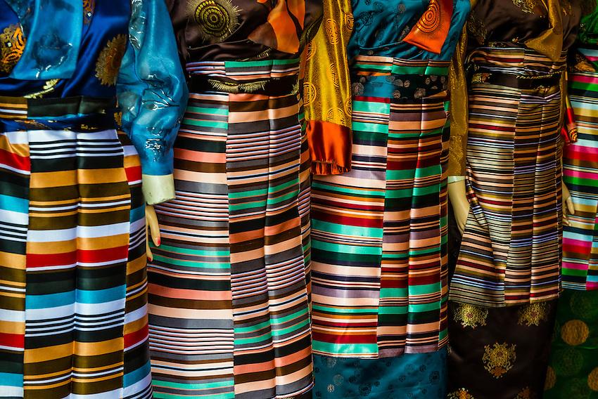 Tibetan Women's Traditional Dress apron (Paang-den) in a shop in Lhasa, Married women wear these dress aprons. Lhasa, Tibet, China.