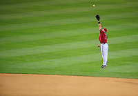 Apr. 8, 2008; Phoenix, AZ, USA; Arizona Diamondbacks shortstop Stephen Drew leaps in an attempt to catch a line drive in the seventh inning against the Los Angeles Dodgers at Chase Field. Mandatory Credit: Mark J. Rebilas-