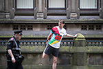 © Joel Goodman - 07973 332324 . 28/05/2017 . Manchester , UK . People warm up outside Manchester Town Hall . The Great Manchester Run 2017 . Security is still heightened in Manchester following a murderous bomb attack at an Ariana Grande gig at Manchester Arena on Monday 22nd May . Photo credit : Joel Goodman