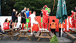 27.06.2020, Stadion an der Wuhlheide, Berlin, GER, DFL, 1.FBL, 1.FC UNION BERLIN  VS. Fortuna Duesseldorf , <br /> DFL  regulations prohibit any use of photographs as image sequences and/or quasi-video<br /> im Bild Union-Spieler bei den Fan hinterm Zaun, Sebastian Polter (1.FC Union Berlin #9)<br /> <br /> <br />      <br /> Foto © nordphoto / Engler