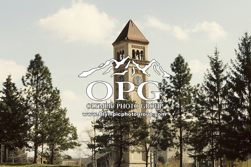 The Spokane clock tower at River Front Park in Spokane, Washington.