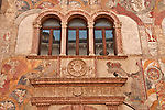 Alberti Colico Palace with 15th century frescos on the facade in Trento, Italy