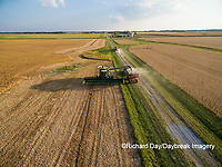 63801-08716 Soybean Harvest, unloading soybeans into grain cart John Deere combine- aerial - Marion Co. IL