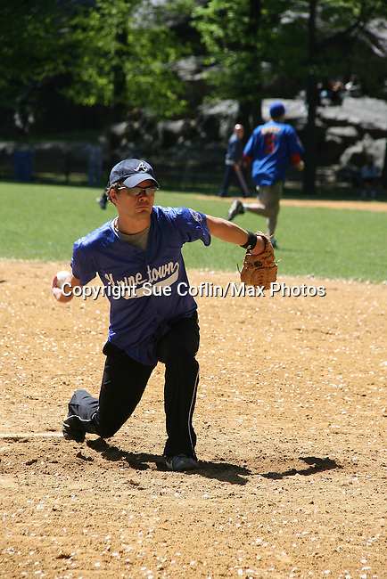 Hunter Foster - Million Dollar Quartet plays in The Broadway Show League (softball) which has teams from the Broadway shows who play each other on April 29. 2010 and Thursdays throughout the summer in Central Park, New York City, New York. (Photo by Sue Coflin/Max Photos)