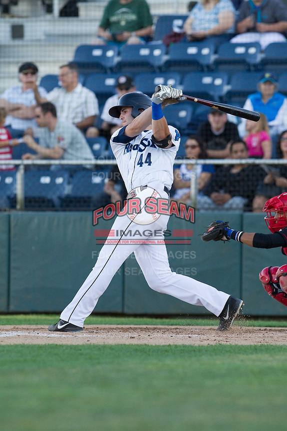 Kyle Petty #44 of the Everett AquaSox at bat during a game against the Vancouver Canadians at Everett Memorial Stadium in Everett, Washington on July 9, 2014.  Everett defeated Vancouver 9-4.  (Ronnie Allen/Four Seam Images)