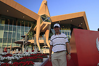 Padraig Harrington (IRL) in front of the spectacular clubhouse after his match during Thursday's Round 1 of the HSBC Golf Championship at the Abu Dhabi Golf Club, United Arab Emirates, 26th January 2012 (Photo Eoin Clarke/www.golffile.ie)