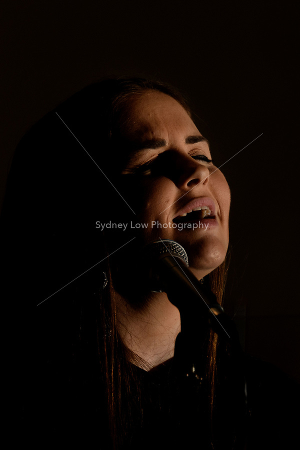 Melbourne, 7 May 2018 - Natasha Weatherill performing at Philippe restaurant. Photo Sydney Low