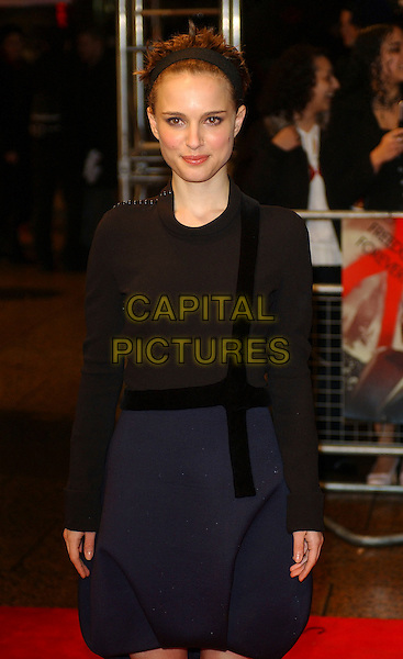 "NATALIE PORTMAN.""V For Vendetta"" UK film premiere, Empire Leicester Square, London, UK.March 8th, 2006                              .Ref: BEL.half length black blue dress alice band headband.www.capitalpictures.com.sales@capitalpictures.com.© Capital Pictures."