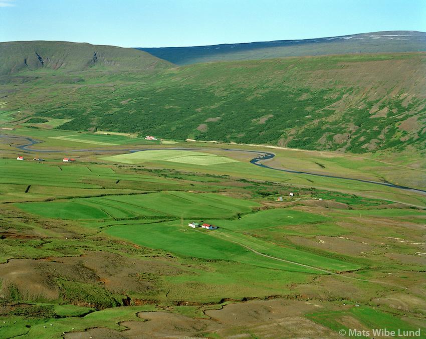 Reynihagi og Víðilækur séð til suðvesturs, Fljótsdalshérað áður Skriðdalshreppur / Reynihagi and Vidilaekur viewing southwest, Fljotsdalsherad former Skriddalshreppur.