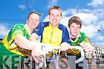 ON YER BIKE: Tralee solicitor Risteard Pierse with his son Daniel and Tralee man Roger Harty (left) who are heading off to Wales to join Gearoid Pierse who is completing a 5,000 mile cycle trip.   Copyright Kerry's Eye 2008