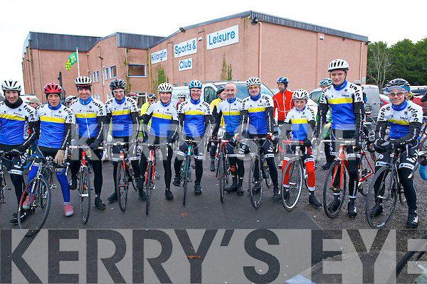 The Tralee Manor West Bicycle Club (L-R) George Doyle, Michael Mannix, Cathal Moynihan, Gerry McCarthy, Matt Lacey, Michael O'Connell, Mike Leahy, Mike Sullivan, Cian Smailes, Oran Pierse and Cormac Daly at the Start Line of the Killorglin Hamper Christmas Cycle which took place last Sunday.