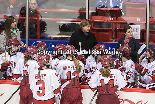 Hayley Moore (Harvard - Assistant Coach), Katey Stone (Harvard - Head Coach), Maura Crowell (Harvard - Assistant Coach) - The Boston College Eagles defeated the Harvard University Crimson 2-1 in the 2013 Beanpot opening round on Tuesday, February 5, 2013, at Matthews Arena in Boston, Massachusetts.