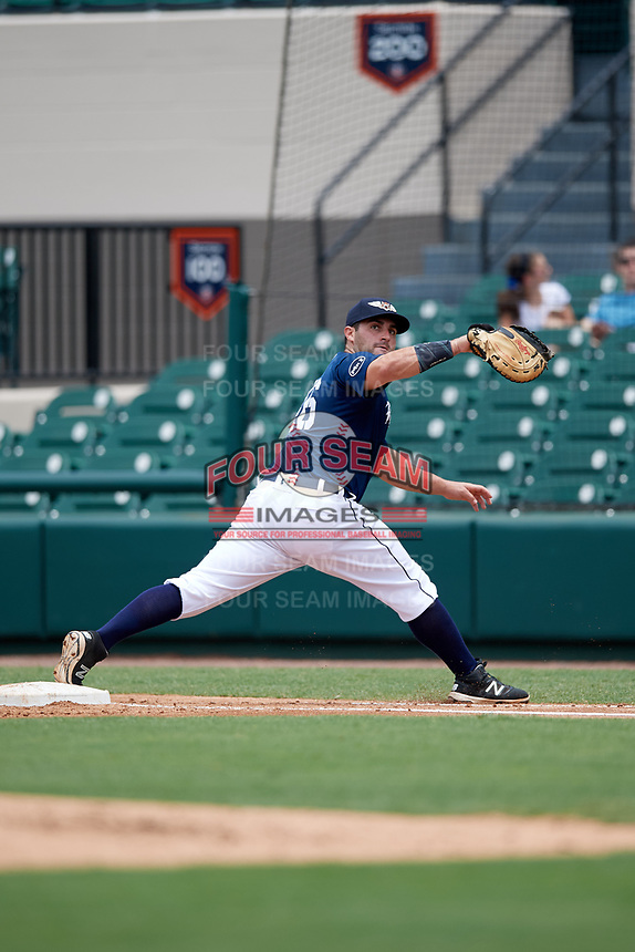 Lakeland Flying Tigers first baseman Wade Hinkle (46) stretches to try to receive a throw during a game against the St. Lucie Mets on June 11, 2017 at Joker Marchant Stadium in Lakeland, Florida.  Lakeland defeated St. Lucie 1-0.  (Mike Janes/Four Seam Images)
