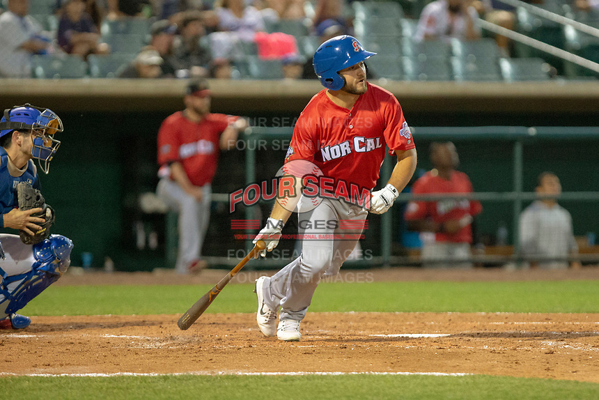 Nate Mondou (10) of the Stockton Ports at bat against the South Division during the 2018 California League All-Star Game at The Hangar on June 19, 2018 in Lancaster, California. The North All-Stars defeated the South All-Stars 8-1.  (Donn Parris/Four Seam Images)