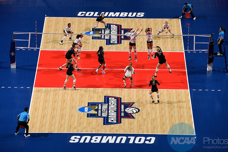 COLUMBUS, OH - DECEMBER 17:  Kathryn Plummer (2) of Stanford University hits a kill against the University of Texas during the Division I Women's Volleyball Championship held at Nationwide Arena on December 17, 2016 in Columbus, Ohio.  Stanford defeated Texas 3-1 to win the national title. (Photo by Jamie Schwaberow/NCAA Photos via Getty Images)
