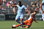 04 July 2015: Carolina's Wells Thompson (right) tries to tackle the ball away from Minnesota's Ibson (BRA) (8). The Carolina RailHawks hosted Minnesota United FC at WakeMed Stadium in Cary, North Carolina in a North American Soccer League 2015 Fall Season match. Carolina won the game 3-1.