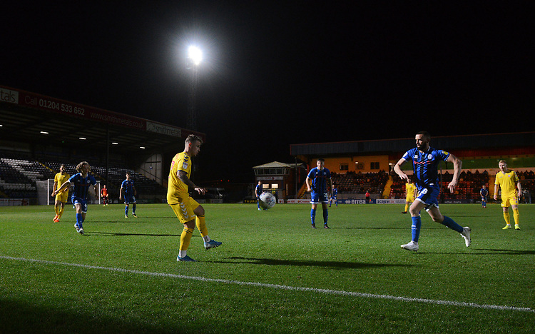 Bolton Wanderers' Thibaud Verlinden under pressure from Rochdale's Aaron Wilbraham<br /> <br /> Photographer Kevin Barnes/CameraSport<br /> <br /> EFL Leasing.com Trophy - Northern Section - Group F - Rochdale v Bolton Wanderers - Tuesday 1st October 2019  - University of Bolton Stadium - Bolton<br />  <br /> World Copyright © 2018 CameraSport. All rights reserved. 43 Linden Ave. Countesthorpe. Leicester. England. LE8 5PG - Tel: +44 (0) 116 277 4147 - admin@camerasport.com - www.camerasport.com