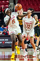 COLLEGE PARK, MD - FEBRUARY 13: Ashley Owusu #15 of Maryland gets to a loose ball during a game between Iowa and Maryland at Xfinity Center on February 13, 2020 in College Park, Maryland.