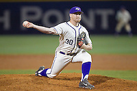 High Point Panthers relief pitcher John Maloney (30) in action against the Coastal Carolina Chanticleers at Willard Stadium on March 15, 2014 in High Point, North Carolina.  The Panthers defeated the Chanticleers 11-8 in game two of a double-header.  (Brian Westerholt/Four Seam Images)