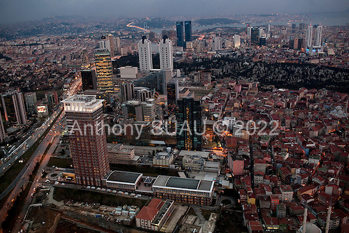 Istanbul, Turkey<br /> March 8, 2011<br /> <br /> A view of Istanbul's new business district from a top the Sapphire, is a skyscraper, and tallest building in Istanbul and Turkey located ate the Istanbul's Levent business district. It is the country's first ecological skyscraper. Sapphire rises 54 floors above ground level having an above-ground roof height of 238 meters (and a structural height of 261 meters including its spire, which is part of the design and not a radio antenna, and is therefore counted as a part of the overall structural height of the building.) It is a shopping and luxury residence mixed-use project by Biskon Construction.