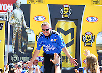 Jun 12, 2016; Englishtown, NJ, USA; NHRA funny car driver Tommy Johnson Jr during the Summernationals at Old Bridge Township Raceway Park. Mandatory Credit: Mark J. Rebilas-USA TODAY Sports