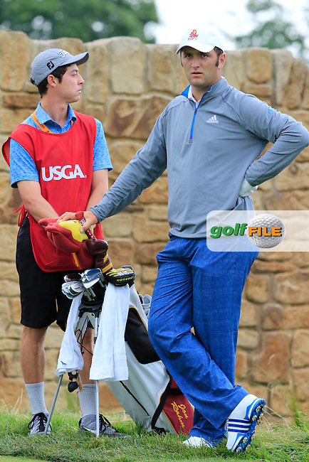 Jon Rahm (AM)(ESP) waits on the 9th tee during Friday's Round 1 of the 2016 U.S. Open Championship held at Oakmont Country Club, Oakmont, Pittsburgh, Pennsylvania, United States of America. 17th June 2016.<br /> Picture: Eoin Clarke | Golffile<br /> <br /> <br /> All photos usage must carry mandatory copyright credit (&copy; Golffile | Eoin Clarke)