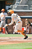 Tennessee Volunteers center fielder Brodie Leftridge (1) swings at a pitch during a game against the Vanderbilt Commodores at Lindsey Nelson Stadium on April 24, 2016 in Knoxville, Tennessee. The Volunteers defeated the Commodores 5-3. (Tony Farlow/Four Seam Images)