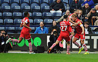 Barnsley's Cameron McGeehan (right) celebrates scoring his side's first goal with team-mates<br /> <br /> Photographer Kevin Barnes/CameraSport<br /> <br /> The EFL Sky Bet Championship - Preston North End v Barnsley - Saturday 5th October 2019 - Deepdale Stadium - Preston<br /> <br /> World Copyright © 2019 CameraSport. All rights reserved. 43 Linden Ave. Countesthorpe. Leicester. England. LE8 5PG - Tel: +44 (0) 116 277 4147 - admin@camerasport.com - www.camerasport.com